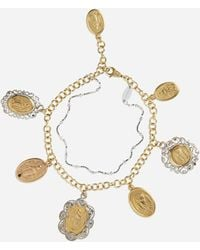 Dolce & Gabbana White And Rose Gold Bracelet With Religious Medallions - Metallic