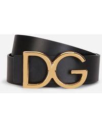 Dolce & Gabbana - Leather Belt With Dg Logo - Lyst