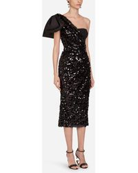 Dolce & Gabbana Sequined Longuette Dress With Bow - Black