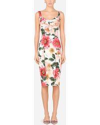 Dolce & Gabbana Camellia-print Cady Midi Dress - Multicolor