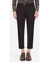 Dolce & Gabbana Stretch Cotton Pants - Negro