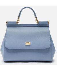 Dolce & Gabbana Medium Dauphine Leather Sicily Bag - Blau