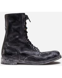 Dolce & Gabbana Vintage-Look Calfskin Lace-Up Ankle Boots - Nero