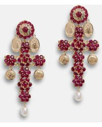 Dolce & Gabbana Family Yellow Gold Cross Pendant Earrings With Rubies - Multicolore