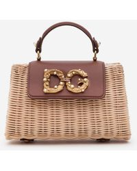Dolce & Gabbana Dg Amore Bag In Wicker And Cowhide - Marrone