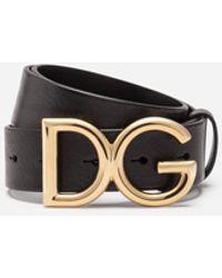Dolce & Gabbana Dg Logo Tumbled Leather Belt - Metallic