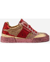 Dolce & Gabbana Portofino Light Sneakers With Multicolored Glitter - Rouge