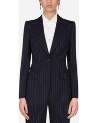 Dolce & Gabbana Pin-stripe Wool Blazer - Blue