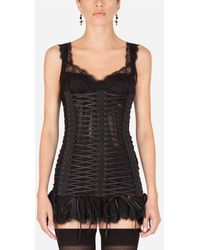 Dolce & Gabbana Cropped Bustier Top With Laces - Black