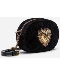 Dolce & Gabbana Devotion Camera Bag In Quilted Smooth Velvet - Schwarz