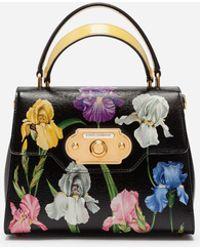 Dolce & Gabbana - Welcome Handbag In Iris Print Hand-grained Calfskin - Lyst