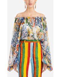 Dolce & Gabbana Majolica-print Silk Blouse - Multicolour
