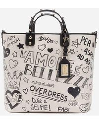06b4f83e49f2 Dolce   Gabbana Beatrice Leopard maiolica Printed Canvas Tote Bag - Lyst