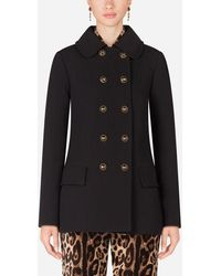 Dolce & Gabbana Basketweave Pea Coat With Decorative Buttons - Black