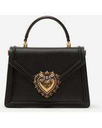 Dolce & Gabbana Mittelgrosse Devotion Tasche Aus Glattem Kalbsleder - Schwarz