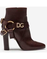 Dolce & Gabbana Ankle Boots In Cowhide With Dg Bracket Logo - Brown