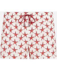 Dolce & Gabbana - Short Swimming Trunks With Starfish Print - Lyst