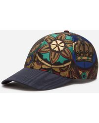 Dolce & Gabbana Lamé Jacquard Baseball Cap In Stained Glass Window Style Print - Multicolour
