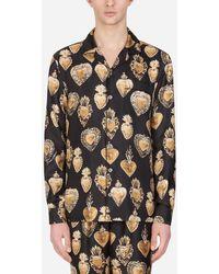 Dolce & Gabbana Pyjamahemd Aus Seide Mit Print Des Heiligen Herzens - Schwarz