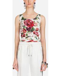 Dolce & Gabbana - Peony-print Silk Top - Lyst