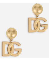 Dolce & Gabbana Hoop Earrings With Dg Logo - Metallic