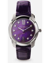 Dolce & Gabbana Uhr Dg7 Aus Stahl Mit Sugilith Und Diamanten - Lila
