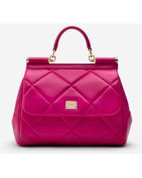 Dolce & Gabbana Medium Sicily Bag In Aria Matelassé Calfskin - Rose