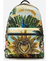 Dolce & Gabbana Rucksack Vulcano Aus Nylon Tropical King-Print - Grün