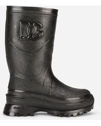 Dolce & Gabbana Metallic Rubber Boots With Dg Logo - Black
