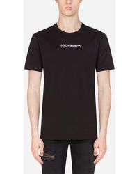 Dolce & Gabbana Printed Cotton T-shirt With Embroidery - Black