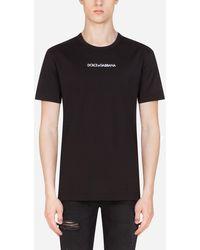 Dolce & Gabbana T-Shirt Aus Baumwolle Dolce&Gabbana-Stickerei - Schwarz