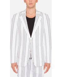 Dolce & Gabbana Striped Stretch Cotton Taormina-Fit Jacket - Bianco