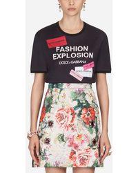 Dolce & Gabbana Camiseta De Algodón Estampada - Negro