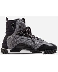 Dolce & Gabbana Ns1 High-Top Sneakers In Mixed Materials - Gris