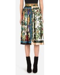 Dolce & Gabbana Twill Skirt With Autumn Print - Multicolore