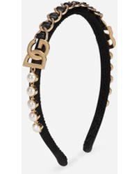 Dolce & Gabbana Satin Headband With Dg Logo And Rhinestones - Multicolour