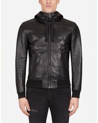 Dolce & Gabbana Leather Jacket With Hood And Branded Plate - Schwarz