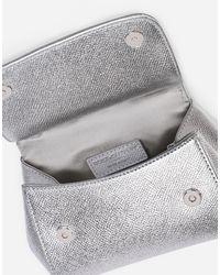 Dolce & Gabbana Sicily Mini Bag In Dauphine Leather - Grey
