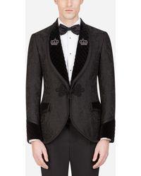 Dolce & Gabbana Chaqueta De Esmoquin De Jacquard Con Parches - Negro