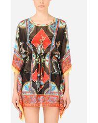 Dolce & Gabbana Short Carretto-print Chiffon Caftan - Multicolor