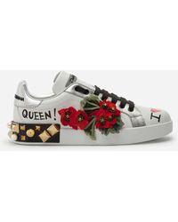 "Dolce & Gabbana Sneakers ""Portofino Geraneo"" In Pelle 30Mm - Bianco"