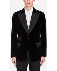 Dolce & Gabbana Casino Tuxedo Jacket In Velvet - Black