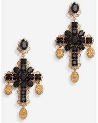 Dolce & Gabbana Clip-On Drop Earrings With Crosses And Medallions - Métallisé