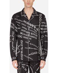 Dolce & Gabbana Silk Pajama Shirt With Lettering Print - Noir
