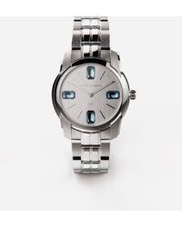 Dolce & Gabbana Dg7gems Steel Watch With Light Blue Topazes - Metallic