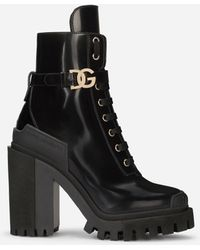 Dolce & Gabbana Brushed Calfskin Hi-trekking Boots - Black