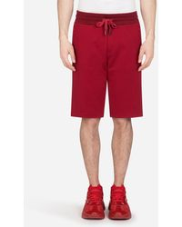 Dolce & Gabbana Jersey Bermuda JOGGING Shorts With Small Logoed Plaque - Red
