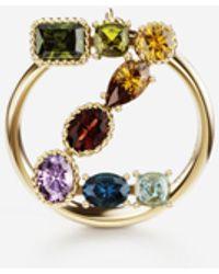 Dolce & Gabbana Rainbow Alphabet Z Ring In Yellow Gold With Multicolor Fine Gems - Mettallic