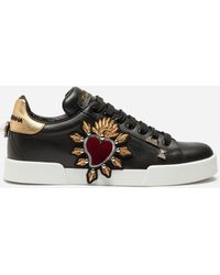 Dolce & Gabbana | Sneakers In Tanned Calfskin With Appliqués | Lyst