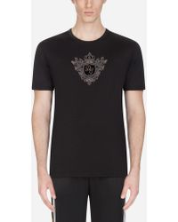 a0c81e4bbf11f1 Dolce   Gabbana - Cotton T-shirt With Patches - Lyst